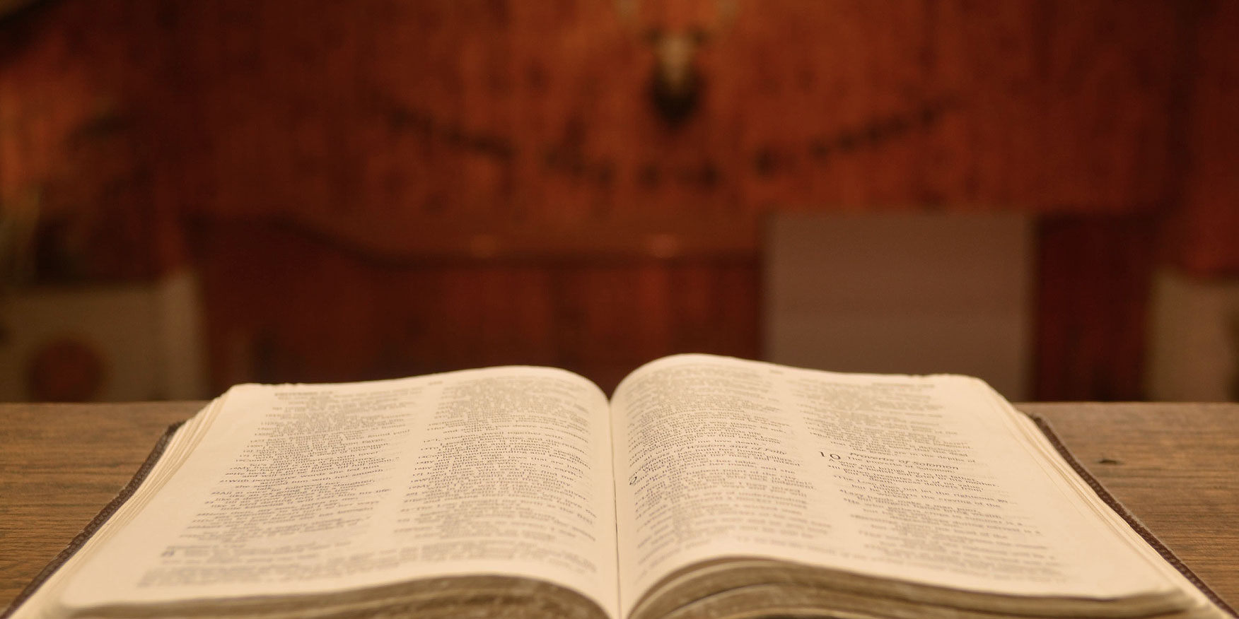 An open Bible in the Chapel at Camp Barakel