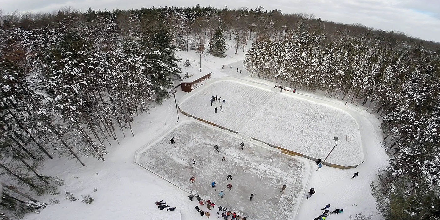 Aerial view of the hockey rink at Camp Barakel